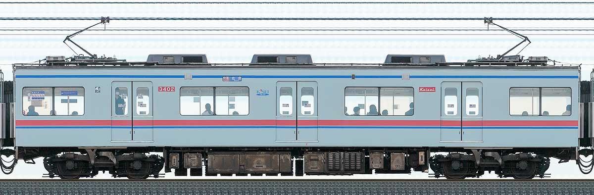 京成3400形3402山側の側面写真