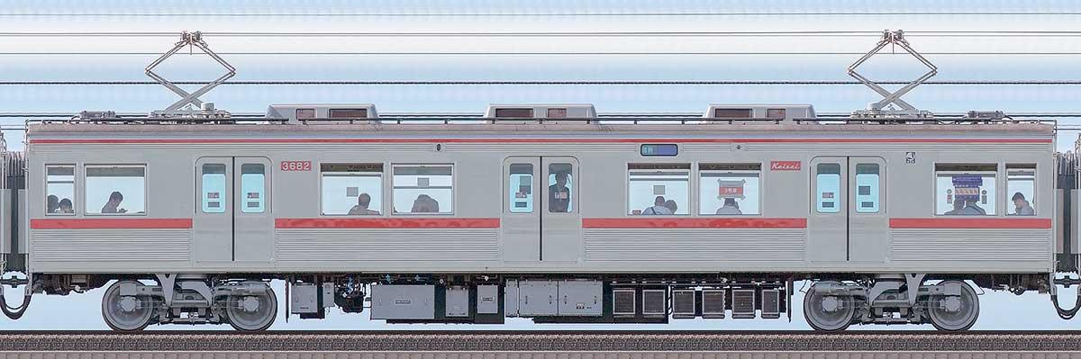 京成3600形モハ3682(ファイヤーオレンジリバイバルカラー)海側の側面写真