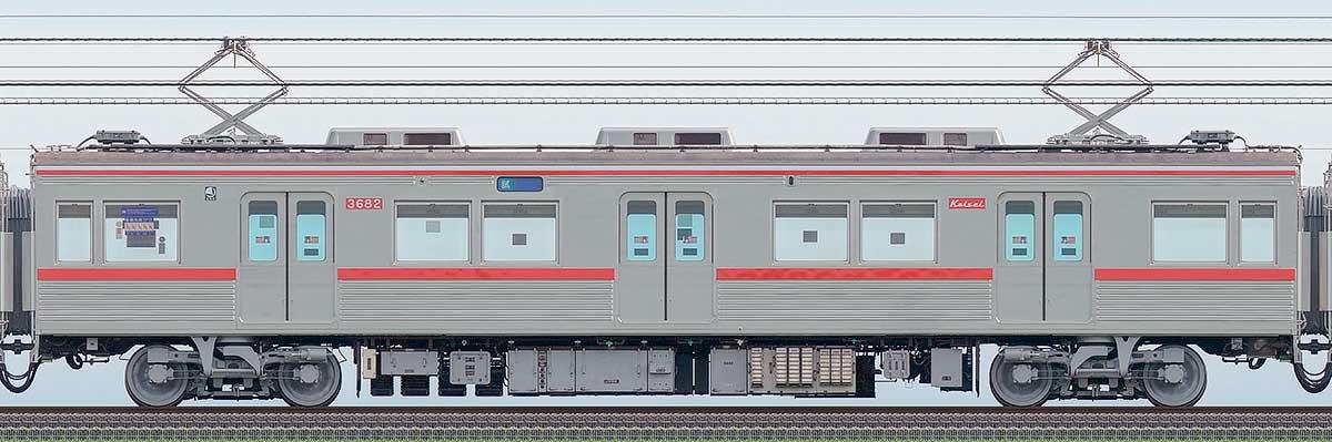 京成3600形モハ3682(ファイヤーオレンジリバイバルカラー)山側の側面写真