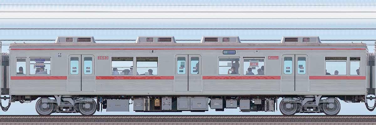京成3600形モハ3683(ファイヤーオレンジリバイバルカラー)海側の側面写真