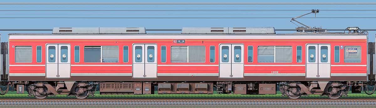 小田急1000形デハ1009(レーティッシュ鉄道色)山側の側面写真