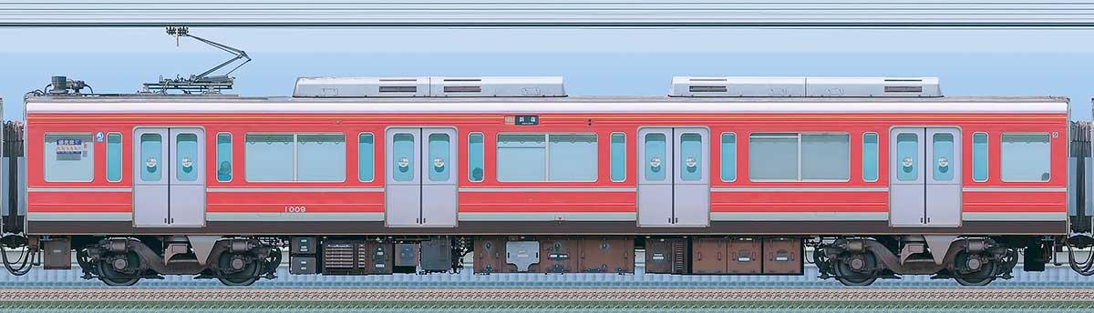 小田急1000形デハ1009(レーティッシュ鉄道色)海側の側面写真