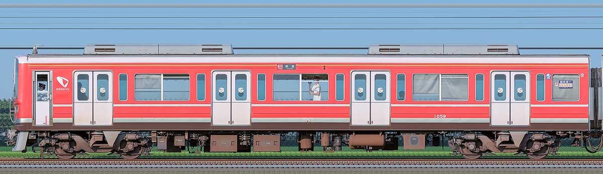 小田急1000形クハ1059(レーティッシュ鉄道色)山側の側面写真