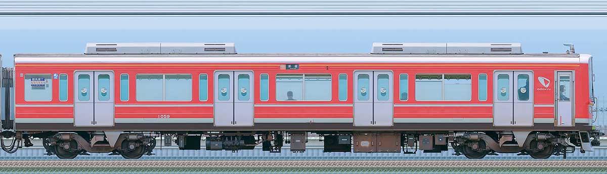 小田急1000形クハ1059(レーティッシュ鉄道色)海側の側面写真
