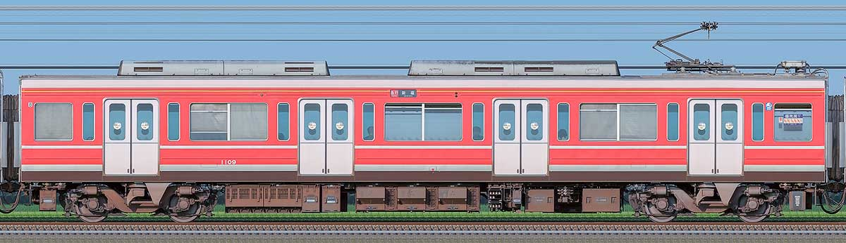 小田急1000形デハ1109(レーティッシュ鉄道色)山側の側面写真