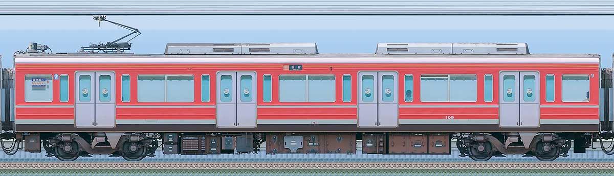 小田急1000形デハ1109(レーティッシュ鉄道色)海側の側面写真