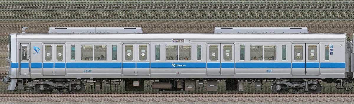 小田急2000形クハ2052(インペリアルブルー)山側の側面写真