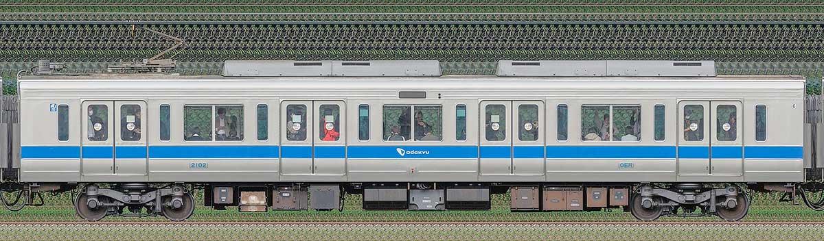 小田急2000形デハ2102(インペリアルブルー)山側の側面写真