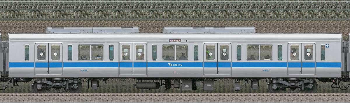 小田急2000形サハ2152(インペリアルブルー)山側の側面写真