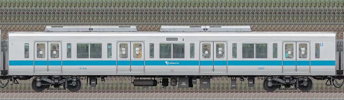小田急2000形サハ2159(ロイヤルブルー)山側の側面写真