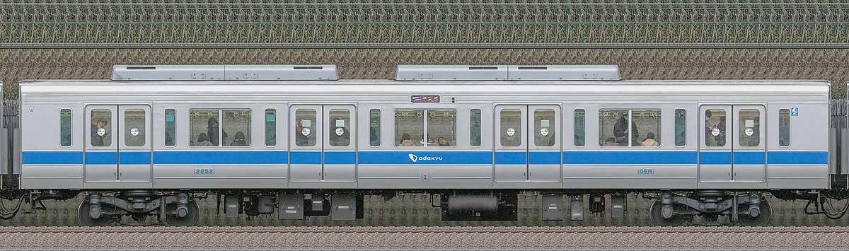 小田急2000形サハ2252(インペリアルブルー)山側の側面写真