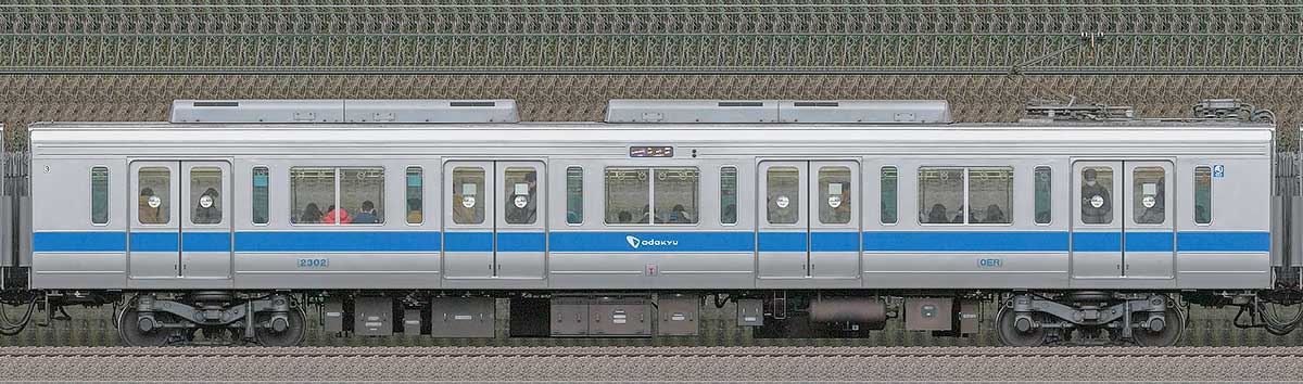 小田急2000形デハ2302(インペリアルブルー)山側の側面写真