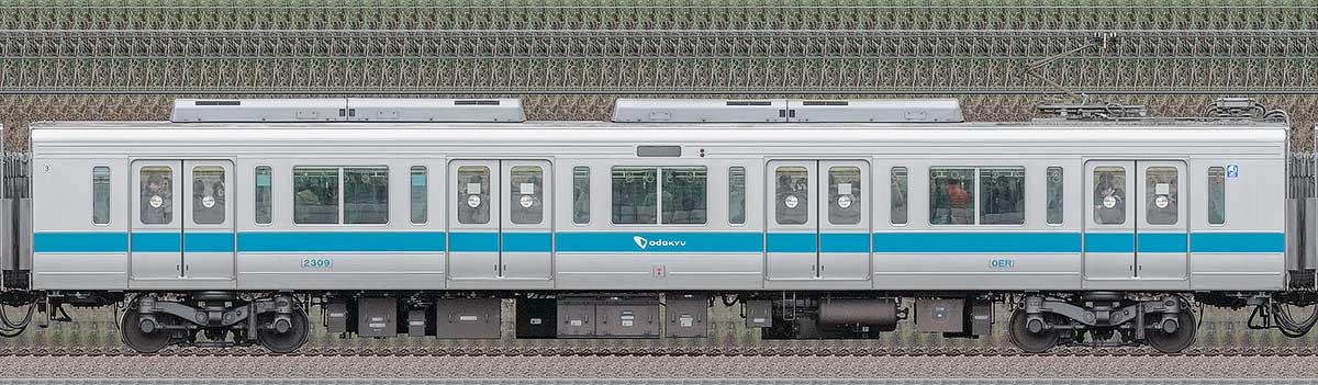 小田急2000形デハ2309(ロイヤルブルー)山側の側面写真