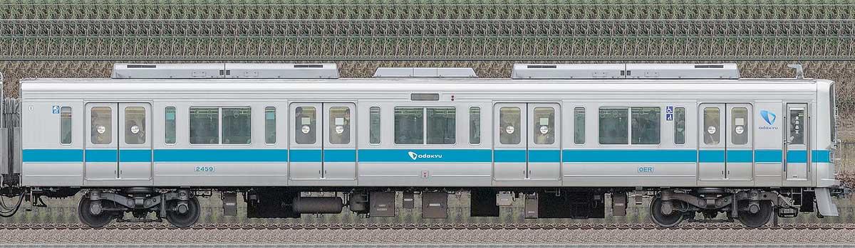 小田急2000形クハ2459(ロイヤルブルー)山側の側面写真