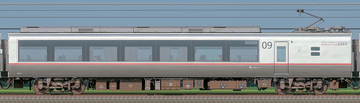 小田急30000形ロマンスカー「EXEα」デハ30004山側の側面写真
