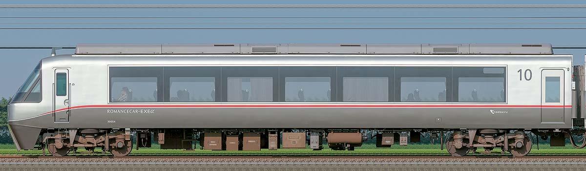 小田急30000形ロマンスカー「EXEα」クハ30054山側の側面写真