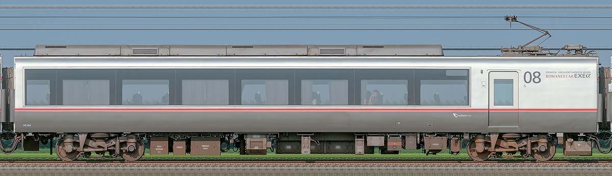 小田急30000形ロマンスカー「EXEα」デハ30104山側の側面写真