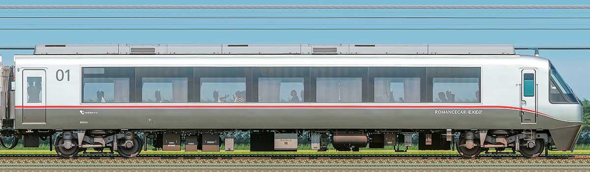 小田急30000形ロマンスカー「EXEα」クハ30554山側の側面写真