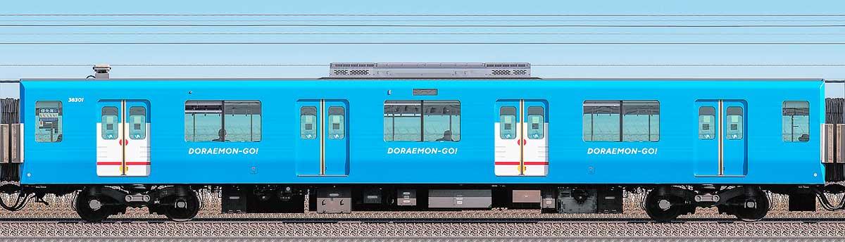西武30000系「DORAEMON-GO!」モハ383012位側の側面写真