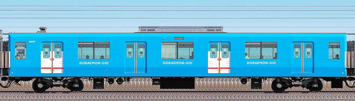 西武30000系「DORAEMON-GO!」サハ385012位側の側面写真