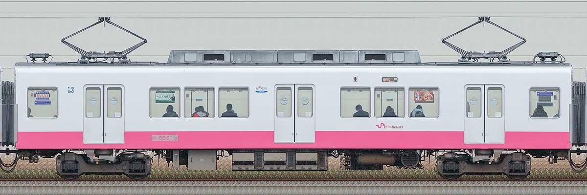 新京成8800形モハ8801-3海側の側面写真