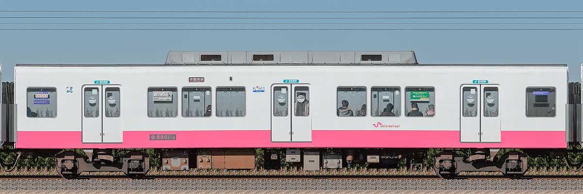 新京成8800形サハ8801-4山側の側面写真