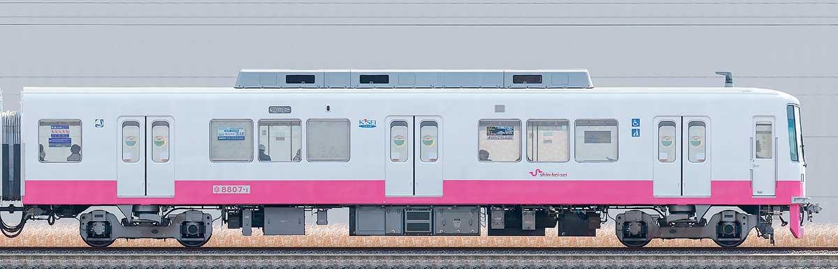 新京成8800形クハ8807-1(床下機器更新・内装リニューアル車)海側の側面写真