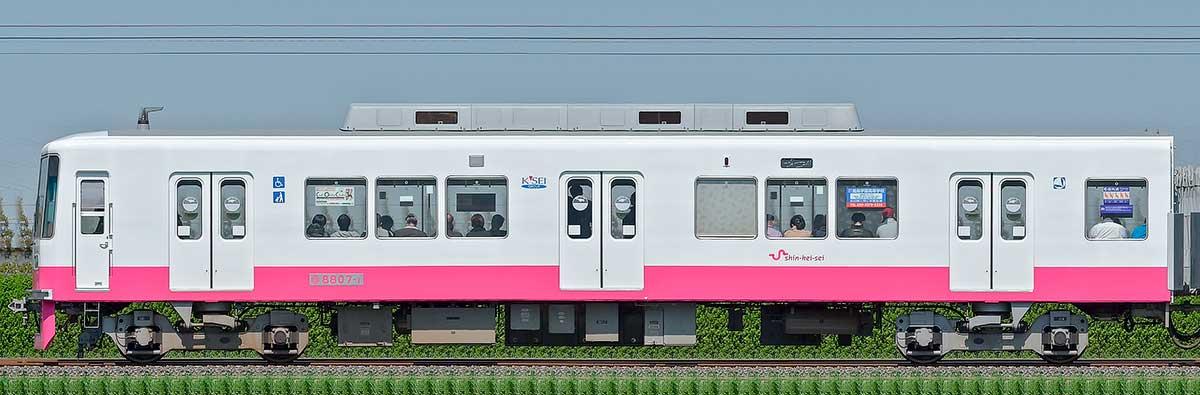 新京成8800形クハ8807-1(床下機器更新・内装リニューアル車)山側の側面写真