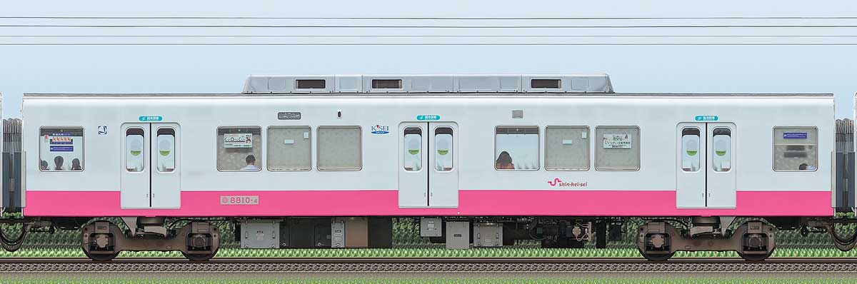 新京成8800形サハ8810-4(床下機器更新・内装リニューアル車)山側の側面写真