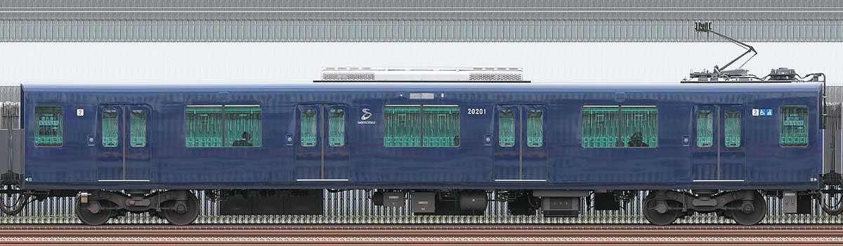 相鉄20000系モハ20201山側の側面写真