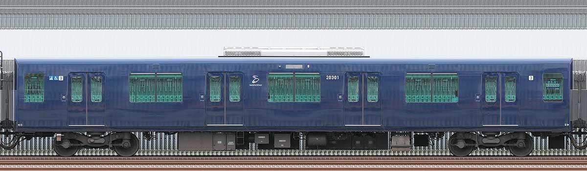 相鉄20000系サハ20301山側の側面写真