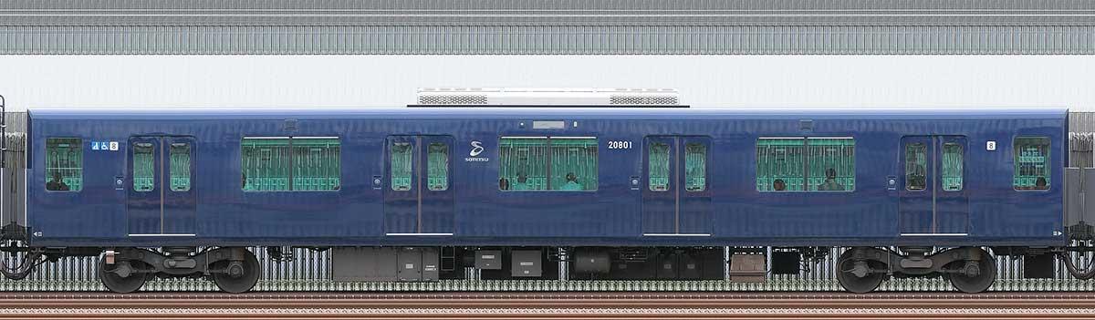相鉄20000系サハ20801山側の側面写真