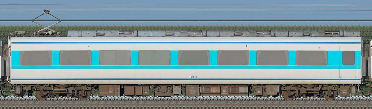 東武100系「スペーシア」モハ109-2(粋カラー・2021年)海側の側面写真