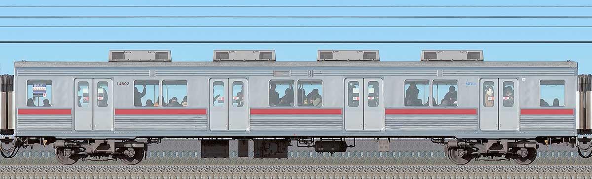 東武10000型サハ14802(リニューアル車)海側の側面写真
