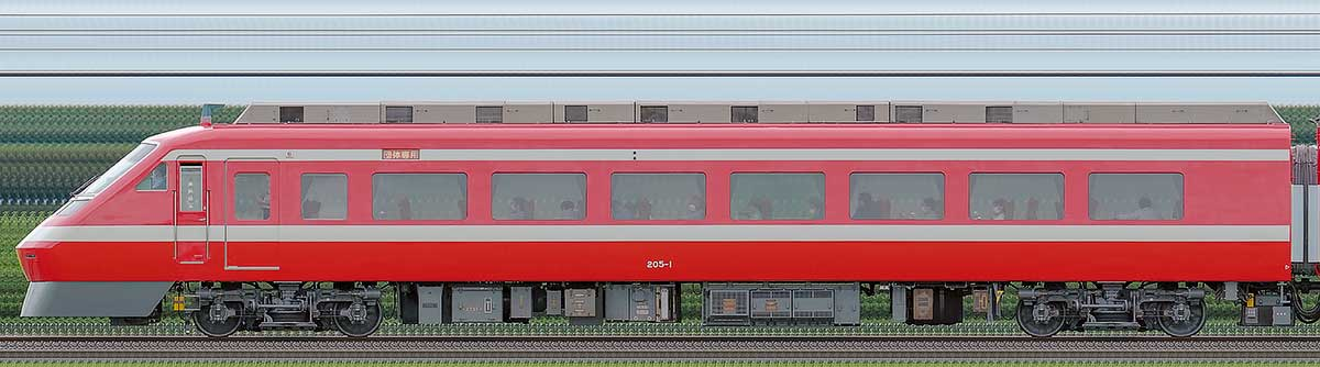 東武200型「りょうもう」モハ205-1(1800系カラーリング)海側の側面写真
