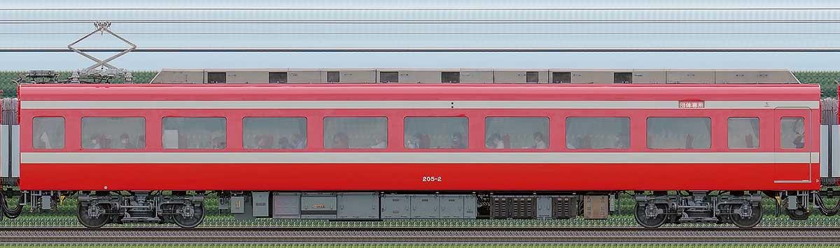 東武200型「りょうもう」モハ205-2(1800系カラーリング)海側の側面写真