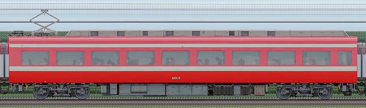 東武200型「りょうもう」モハ205-3(1800系カラーリング)海側の側面写真
