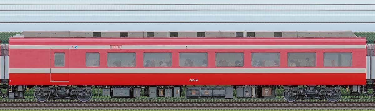 東武200型「りょうもう」モハ205-4(1800系カラーリング)海側の側面写真