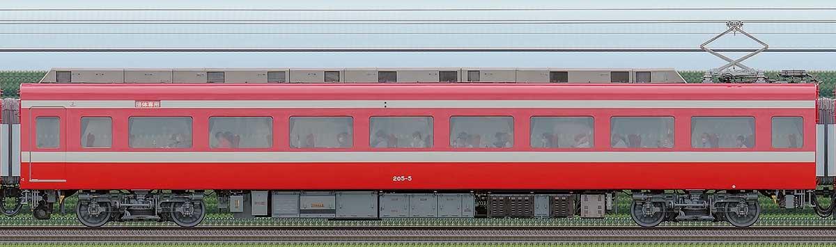 東武200型「りょうもう」モハ205-5(1800系カラーリング)海側の側面写真