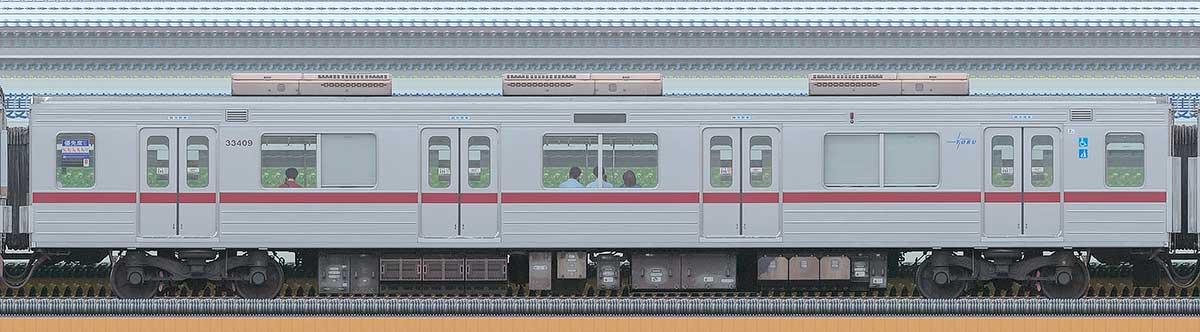 東武30000系モハ33409海側の側面写真