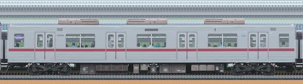 東武30000系モハ33609海側の側面写真