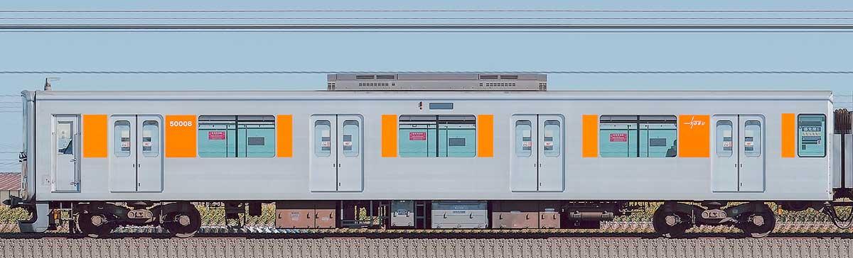 東武50000型クハ50008(スカイツリーライン)山側の側面写真