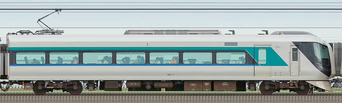 東武500系「リバティ」モハ501-1山側の側面写真