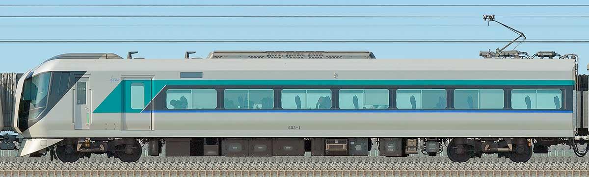 東武500系「リバティ」モハ503-1海側の側面写真