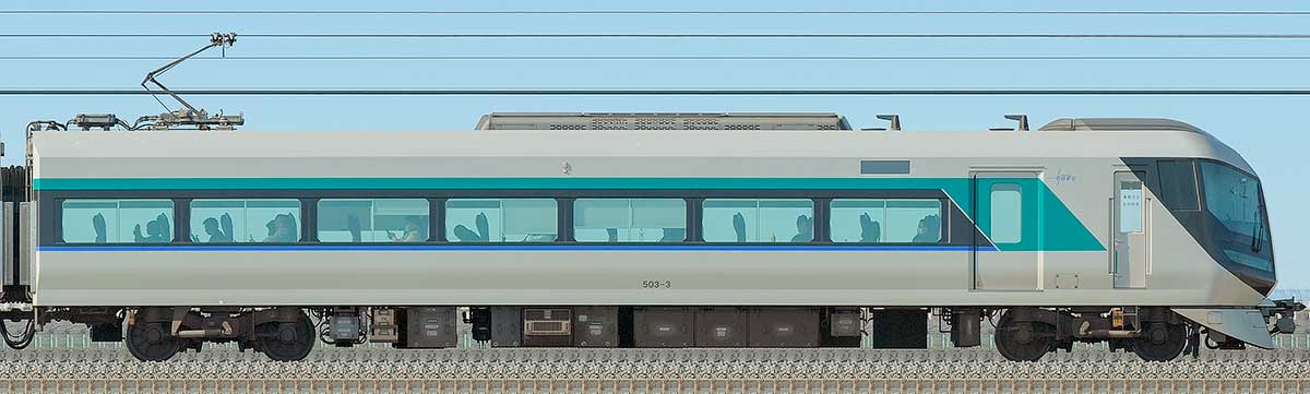 東武500系「リバティ」モハ503-3海側の側面写真
