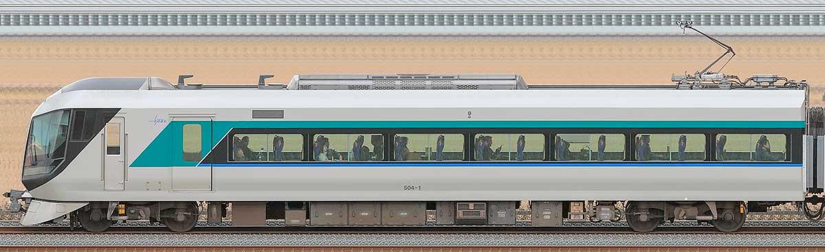 東武500系「リバティ」モハ504-1海側の側面写真