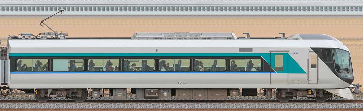 東武500系「リバティ」モハ504-3海側の側面写真