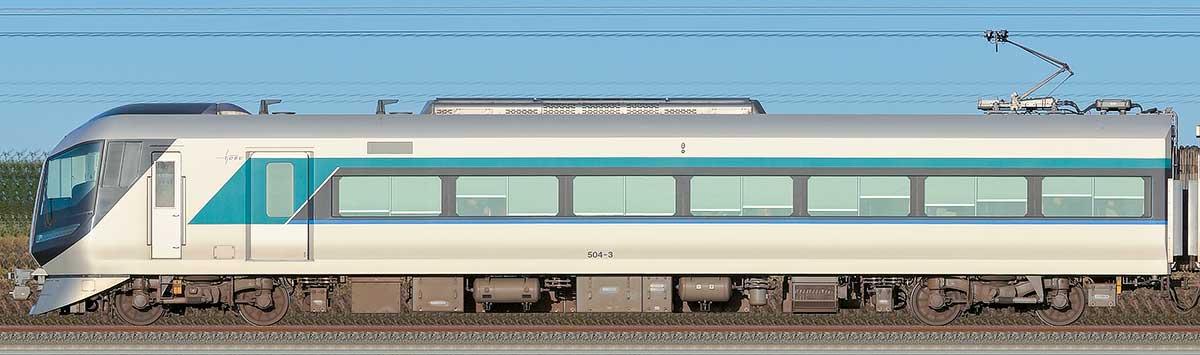 東武500系「リバティ」モハ504-3山側の側面写真