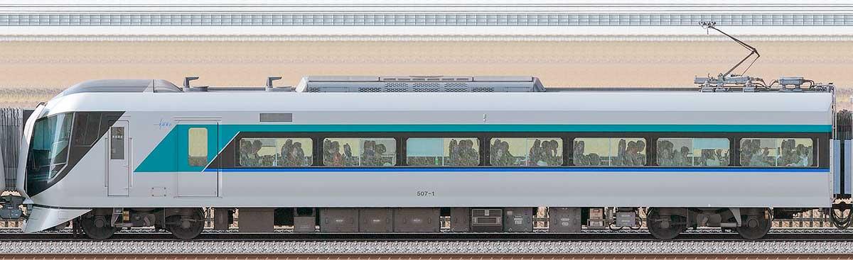 東武500系「リバティ」モハ507-1海側の側面写真