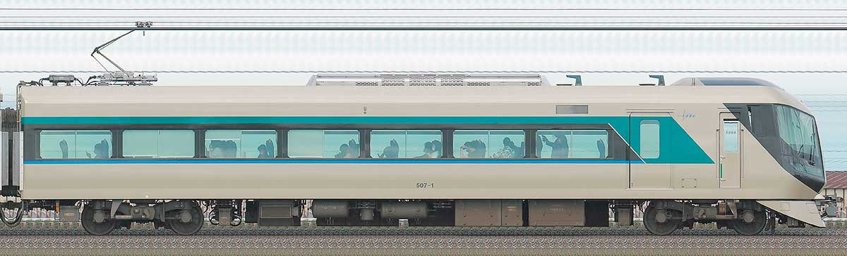 東武500系「リバティ」モハ507-1山側の側面写真
